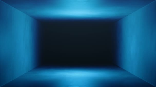 Looped 3D animation, seamless abstract blue room interior. Tunnel, box inside. Futuristic architecture background. Box with concrete wall. Mock-up for your design project. Loop-able 4K animation