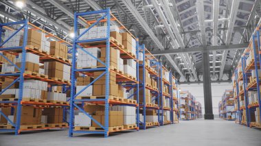 Warehouse with cardboard boxes inside on pallets racks, logistic