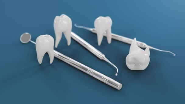 Gesunde Zähne Rotationsanimation. Zähne mit Zahnwerkzeugen. Konzept der Zahnbürste, Pflege und Schutz vor Karies. Konzept Mundpflege. Zahnaufhellung. Medizinische 4K 3D Animation