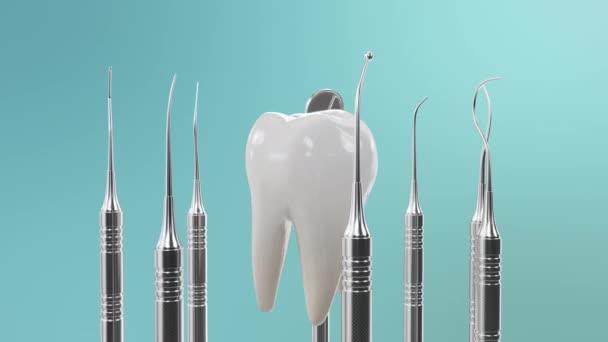 Gesunde Zähne Rotationsanimation. Zähne mit Zahnwerkzeugen. Konzept der Zahnbürste, Pflege und Schutz vor Karies. Konzept Mundpflege. Zahnaufhellung. Nahtlose, schleifenfähige medizinische 4K-3D-Animation