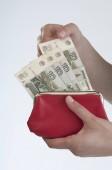 Fotografie Frauenhand zieht russischen Rubel-Schein aus der Handtasche