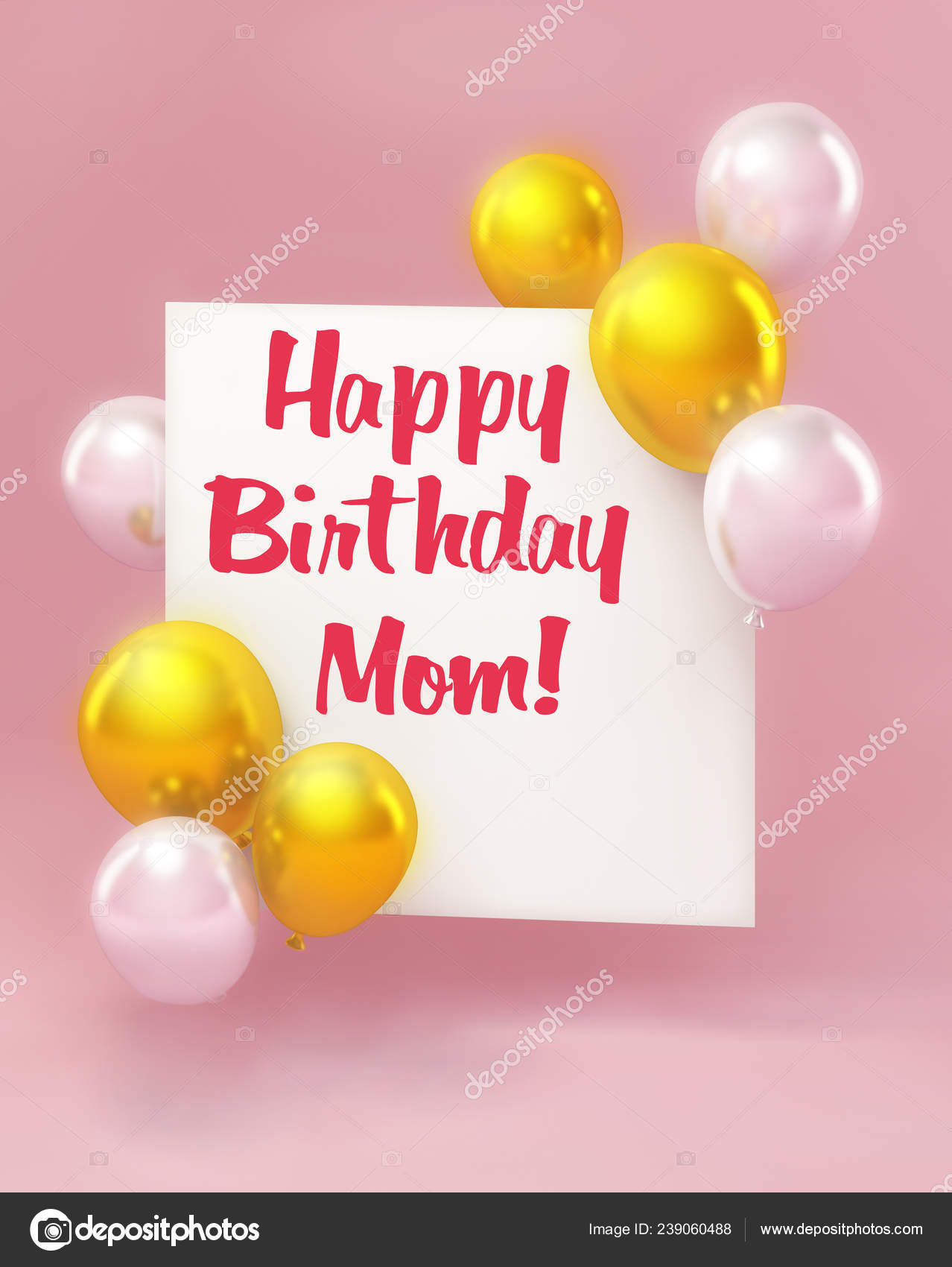 Happy Birthday Mom Greeting Card Style Balloons Pink Stock Photo