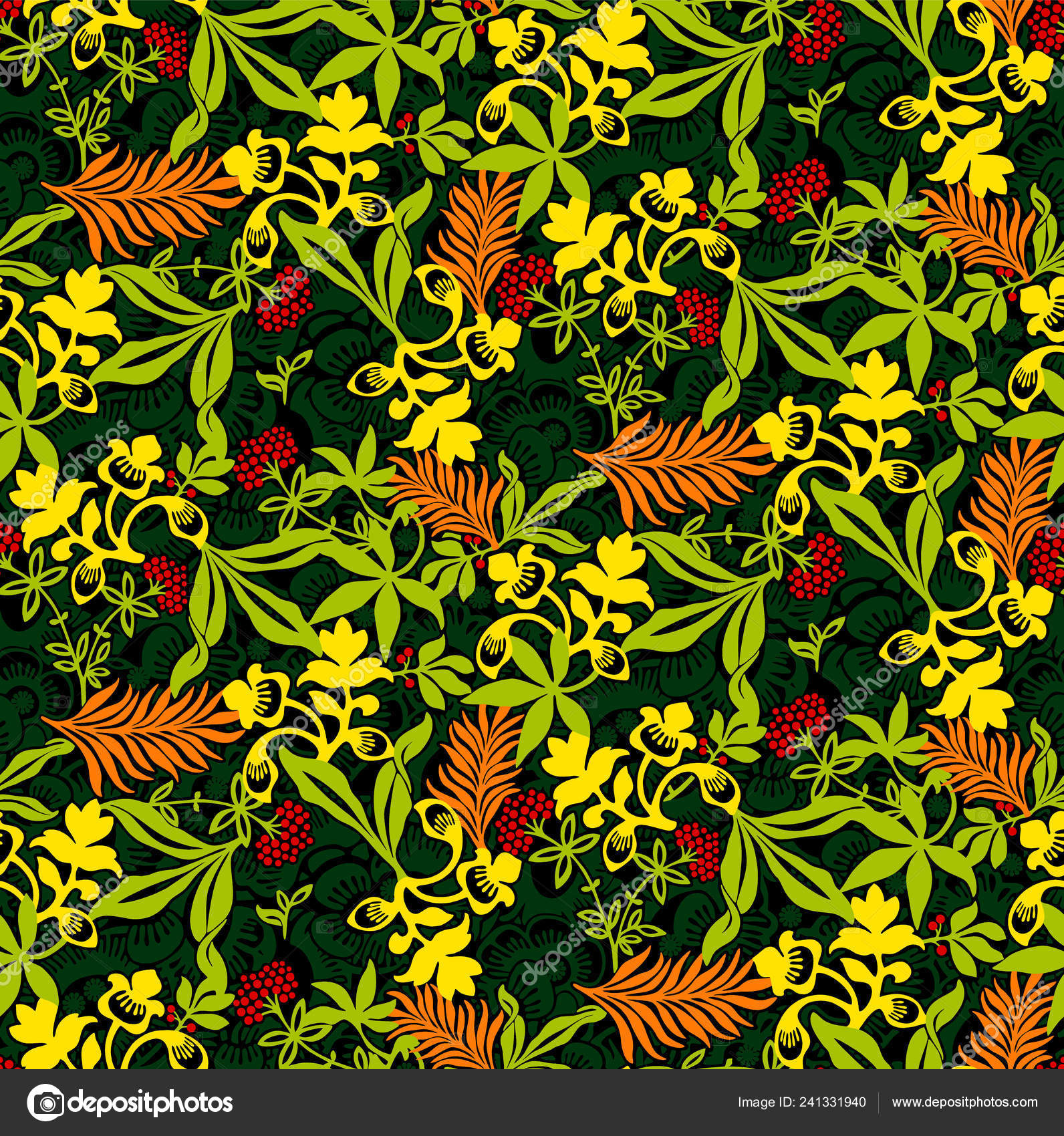 Dark Floral Seamless Wallpaper Tropical Leaves Yellow Flowers Flat
