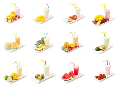 Glasses of fruits smoothie isolated on white background stock vector