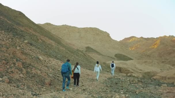 Skupina turistů procházka podél skalního kaňonu v horké poušti, turisté se vyfotit a bavit. Pouštní hory pozadí, Egypt, Sinaj, 4k