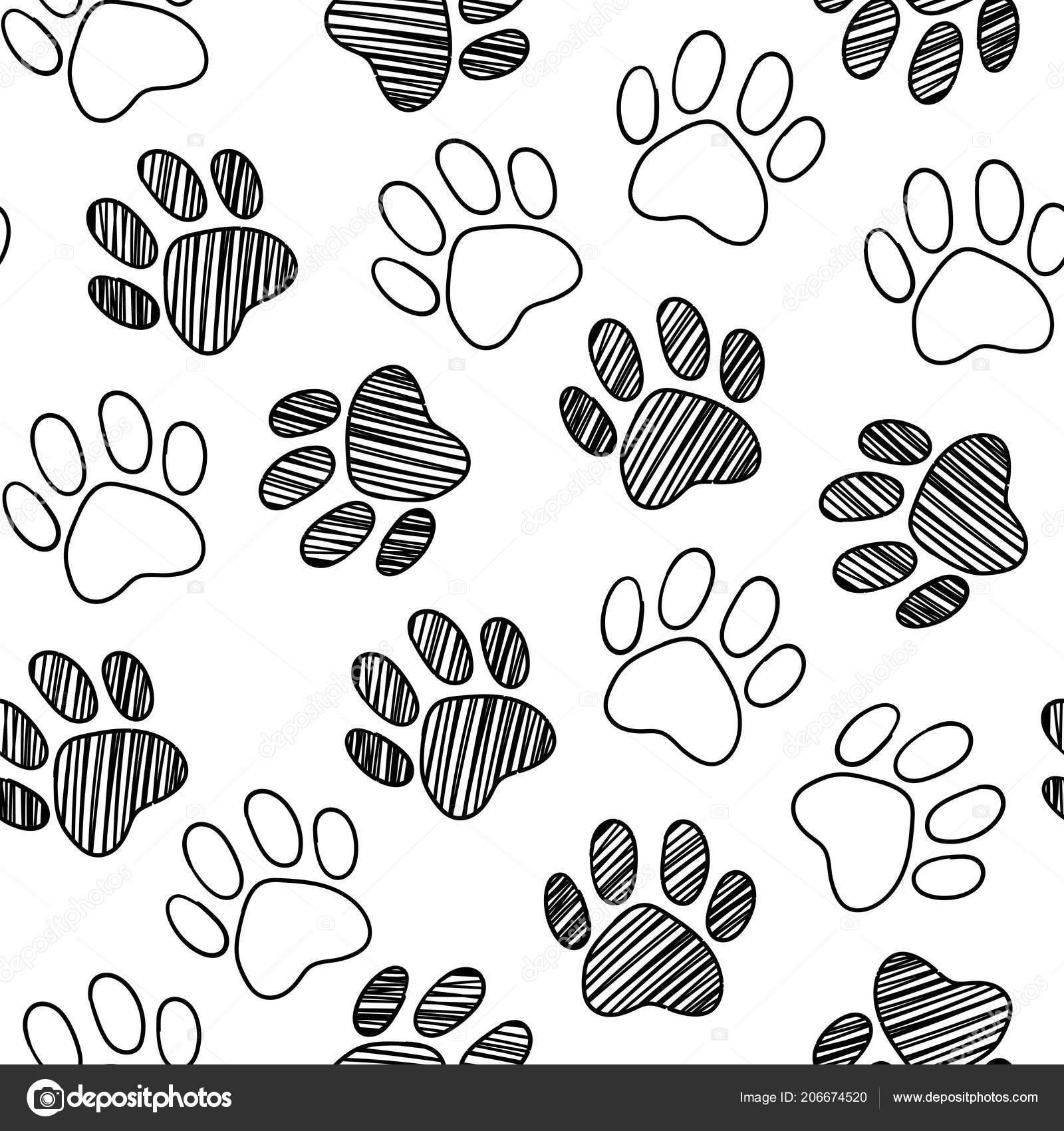 Monochrome Black White Dog Cat Pet Animal Paw Foot Hand Stock