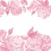 Akvarell fekete-fehér rózsaszín Fehér Rózsa bazsarózsa virág virág kompozíció keret határon sablon minta háttér