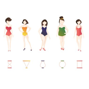 Modern vector illustration of Woman body shape types. Set of dif