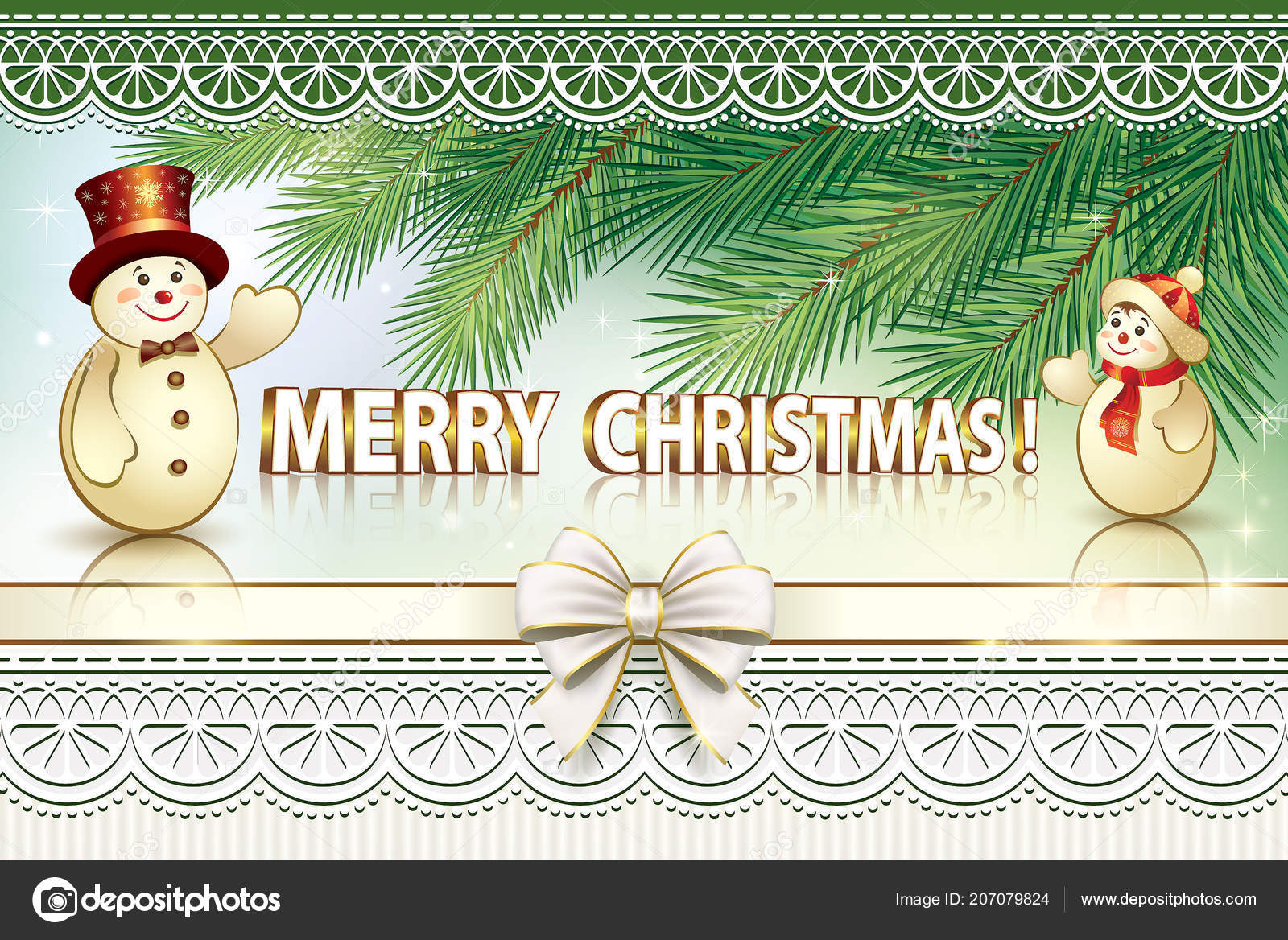 2019 Merry Christmas Happy New Year Background Spruce Branches ...