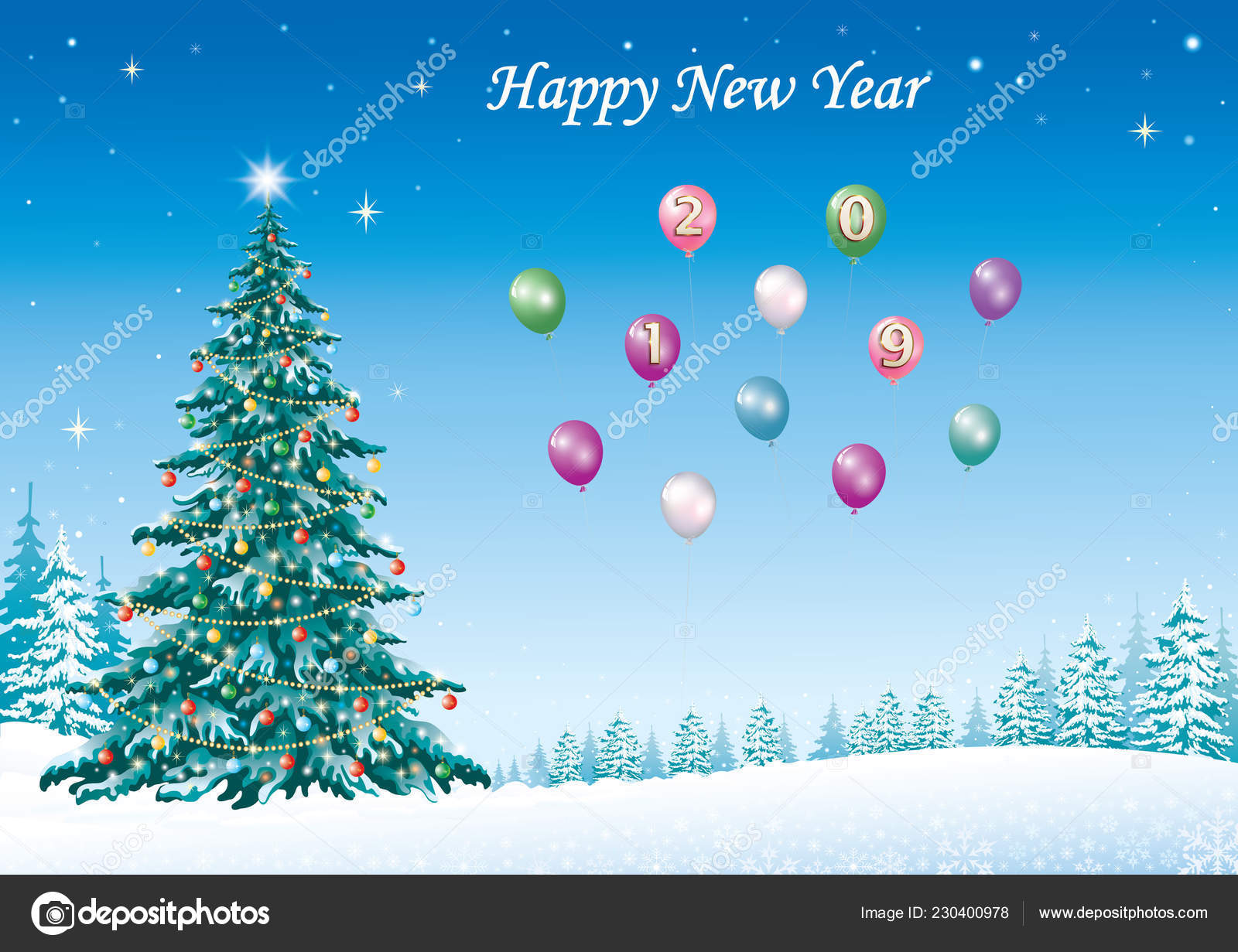 happy new year 2019 christmas tree with balloons on the background of winter nature vector illustration vector by seriga