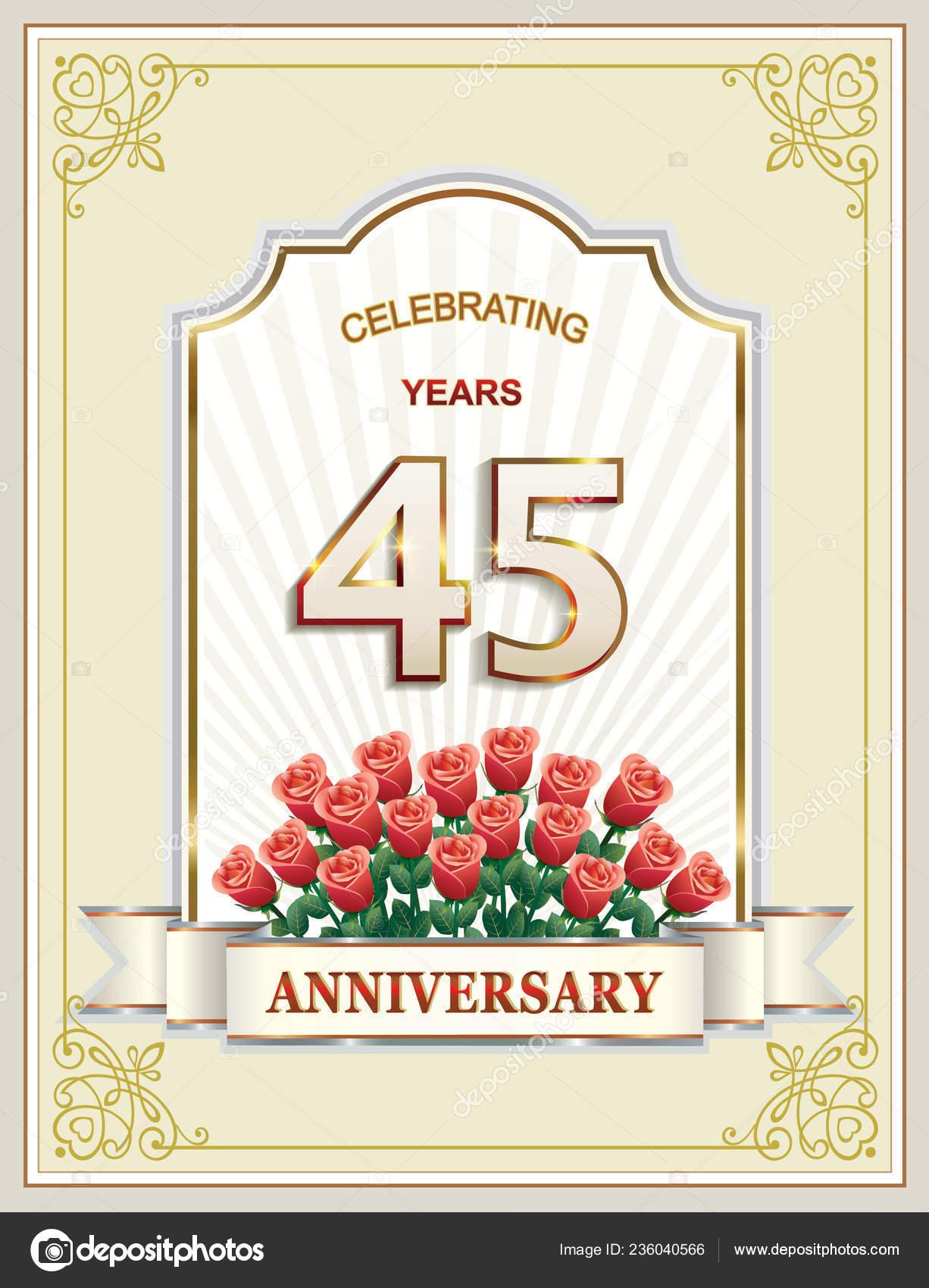 45 Anniversario Matrimonio.Anniversary Years Happy Birthday Greeting Card Background Vector