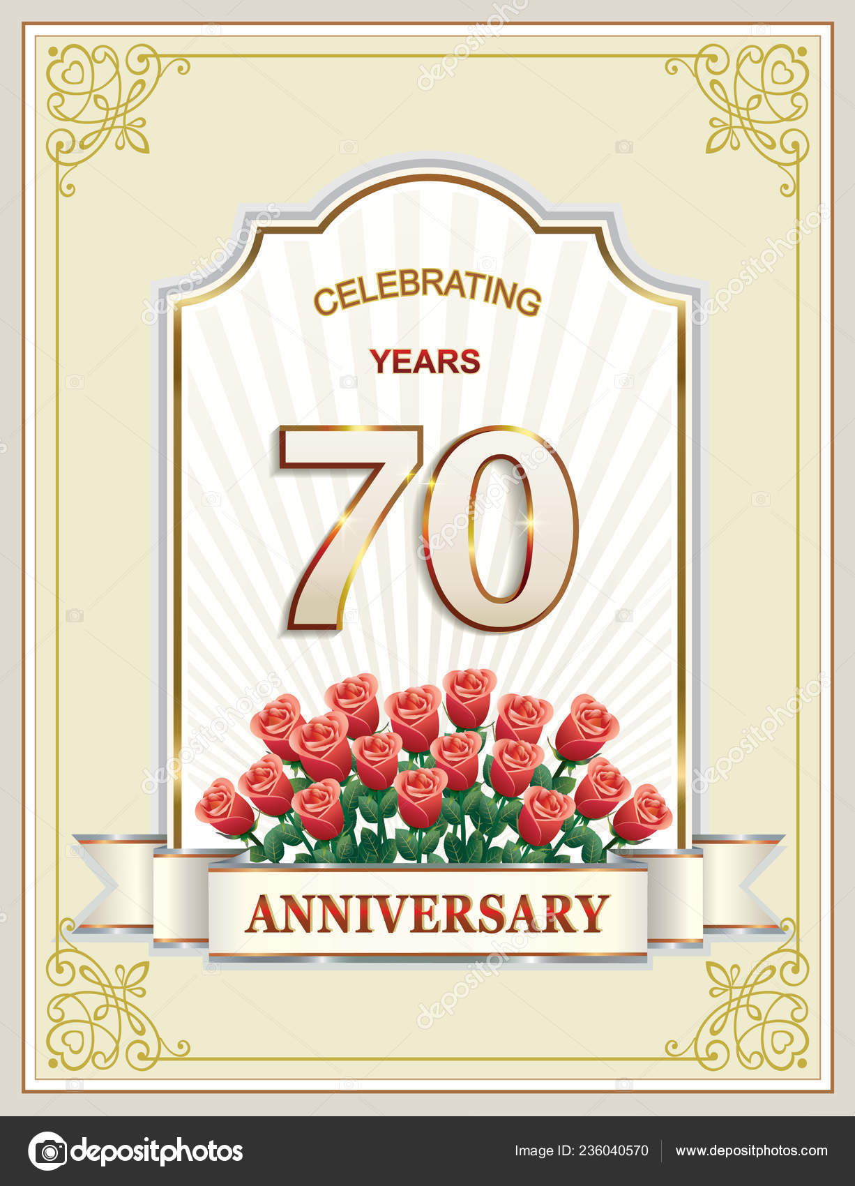Anniversary 70 Years Happy Birthday Greeting Card Background Vector Illustration Stock