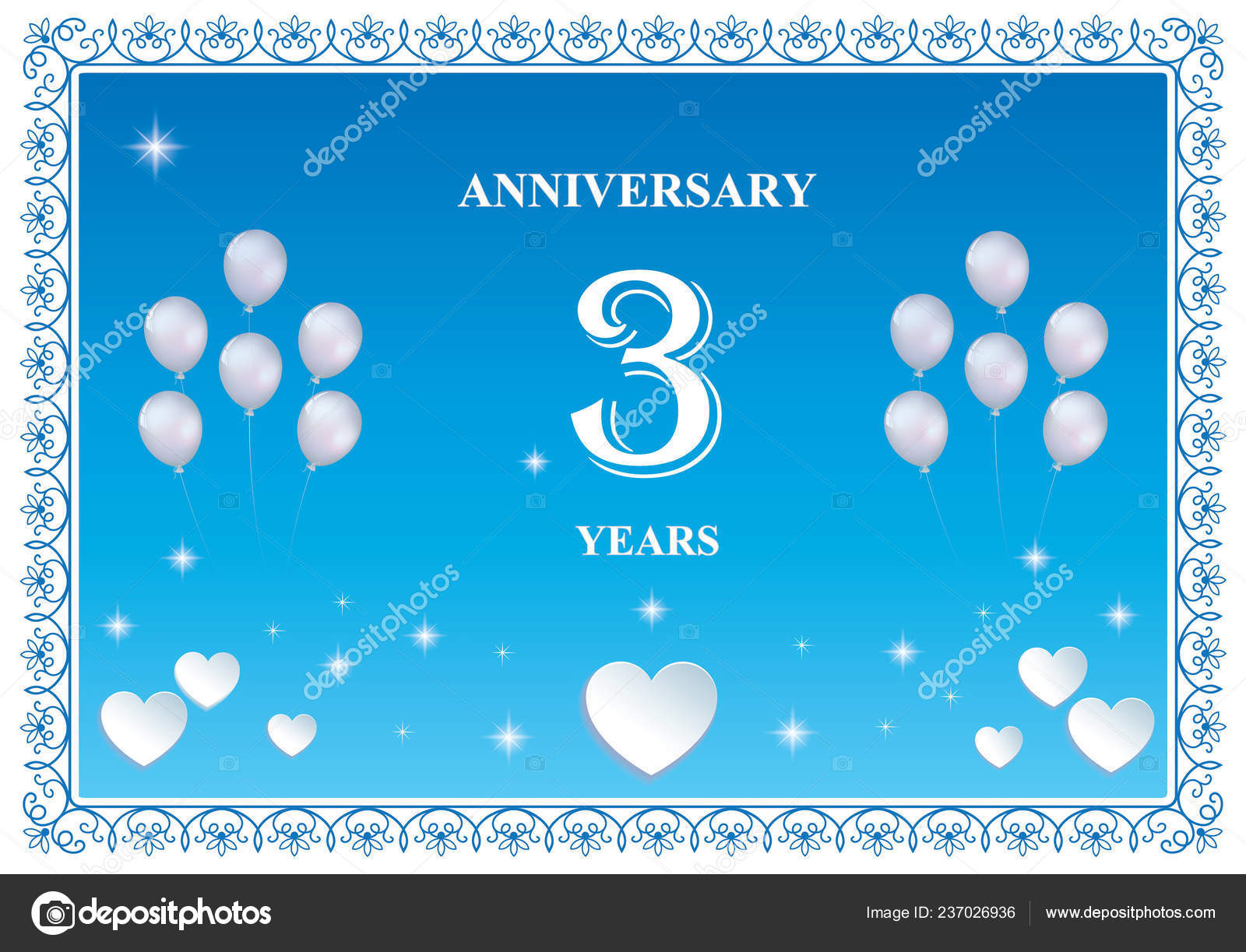 Anniversario Matrimonio 3 Anni.Anniversary Years Happy Birthday Greeting Cards Background Vector