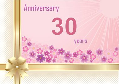 30 years anniversary, birthday, background, holiday, celebrations, greeting card. Vector illustration