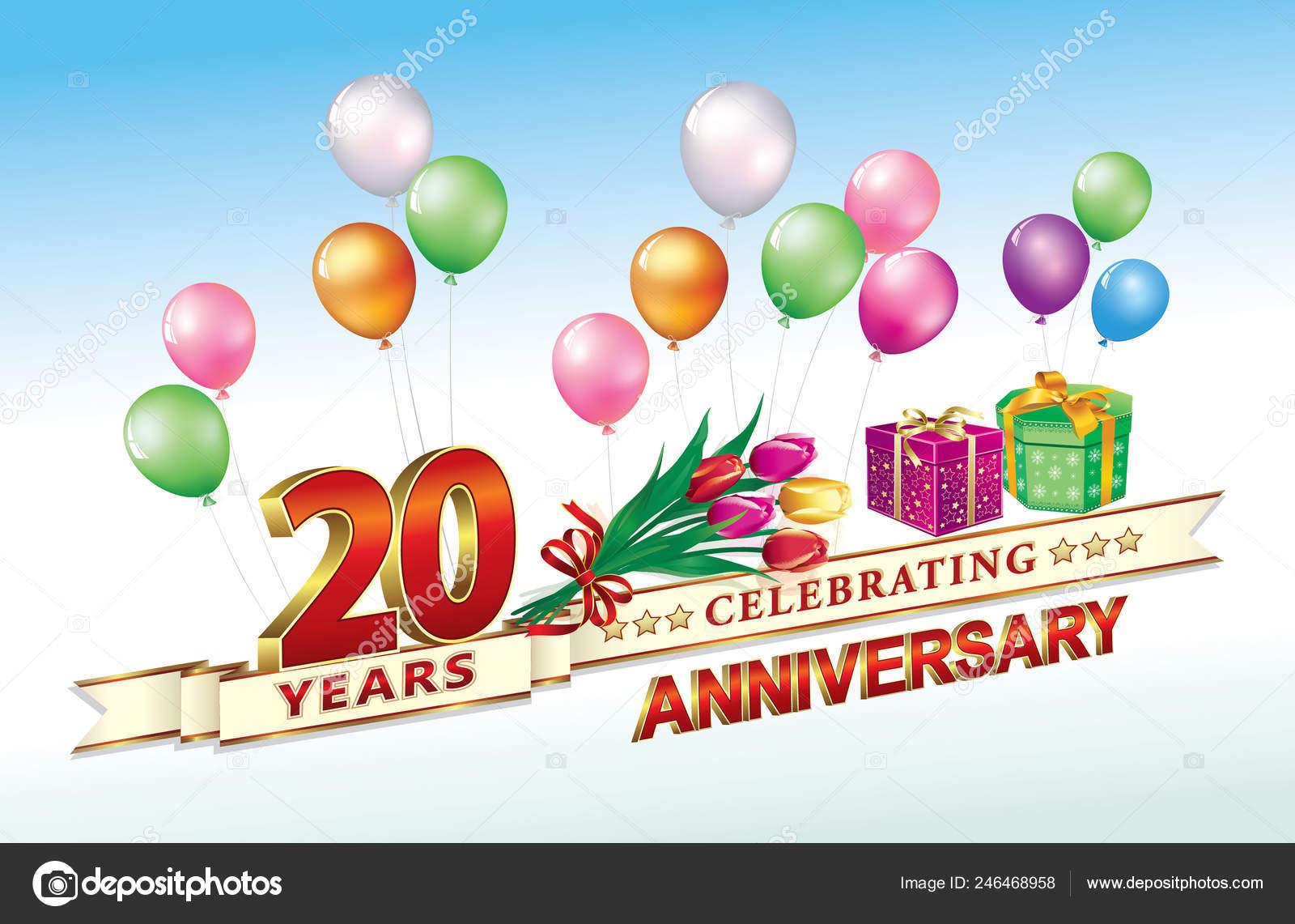 20th Anniversary Birthday 20 Years Celebrations Birthday Card With Gift Boxes Flowers Balloons Festive Poster Vector Illustration Vector Image By C Seriga Vector Stock 246468958