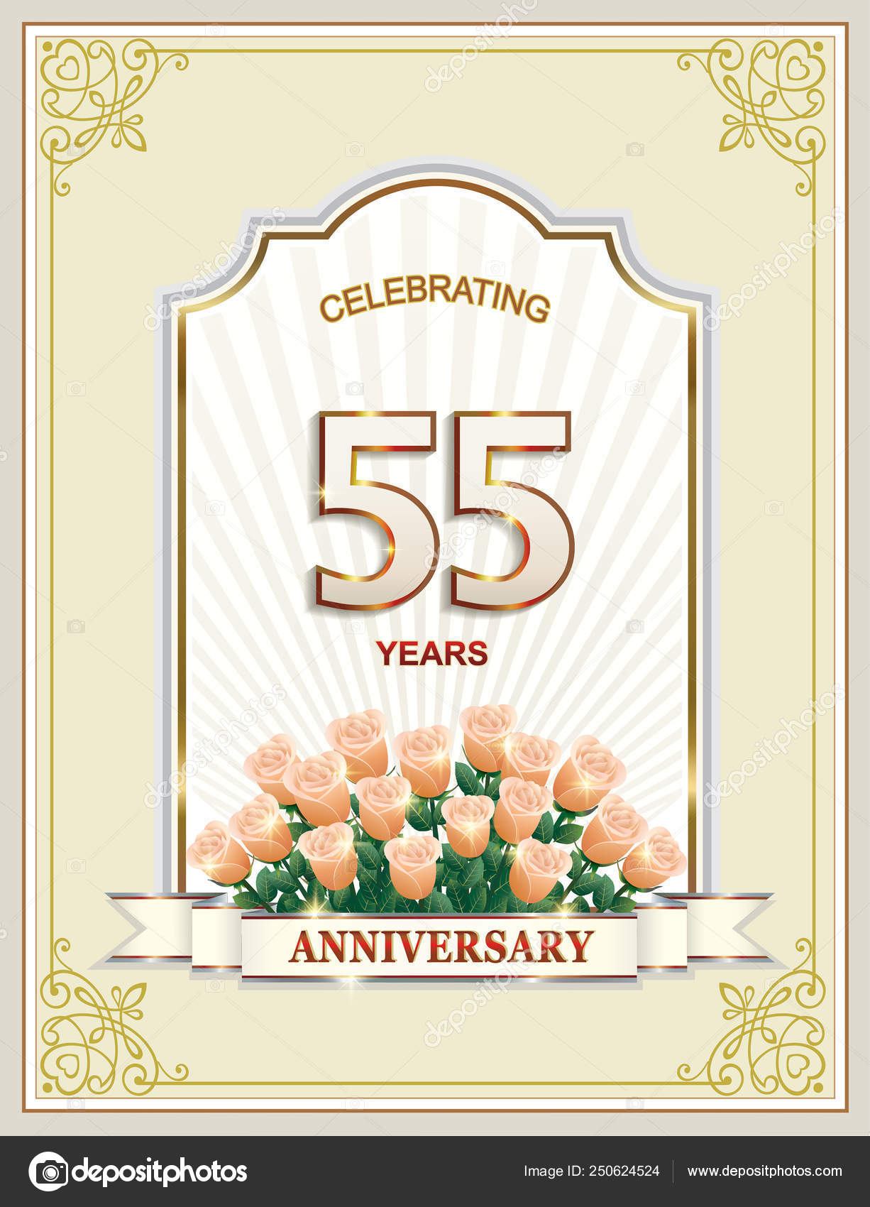 Anniversario Matrimonio 55 Anni.Anniversary 55 Years 80th Happy Birthday Greeting Card With A