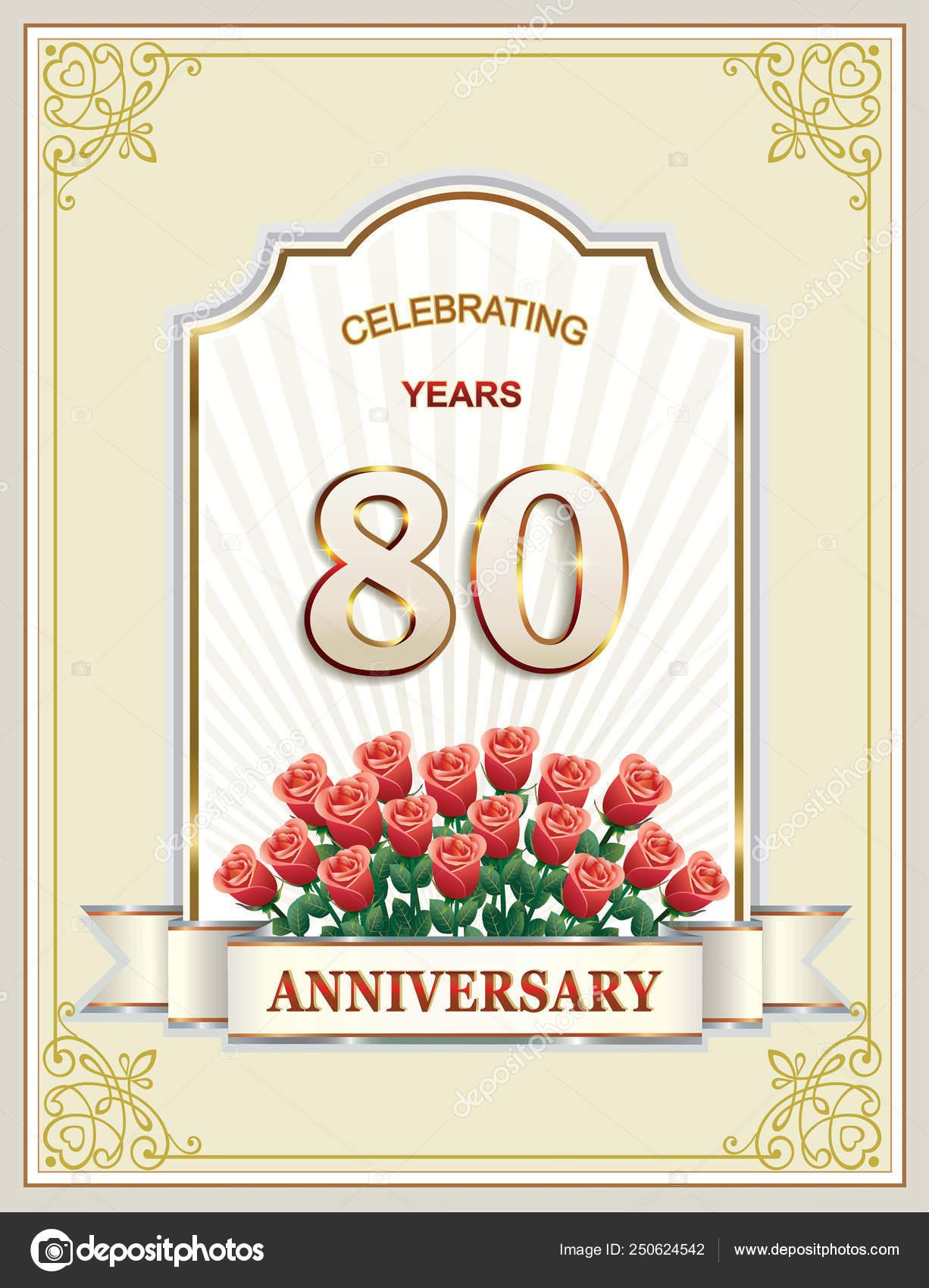 Auguri Buon Compleanno 80 Anni.Anniversario Di 80 Anni 80th Buon Compleanno Cartolina D