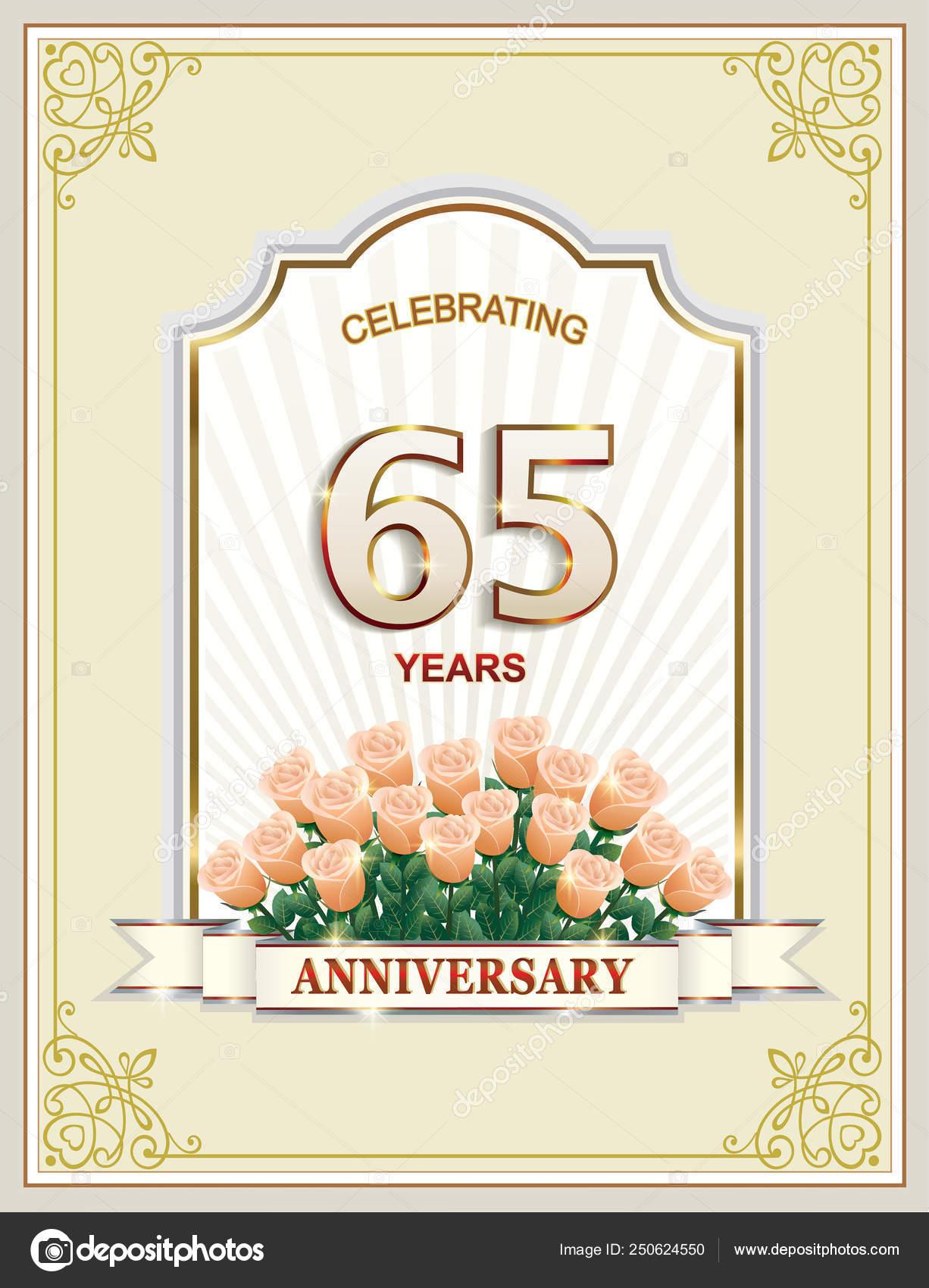 65 Anniversario Di Matrimonio.Illustrazione Mazzo Di Rose Per Augurare Buon Compleanno