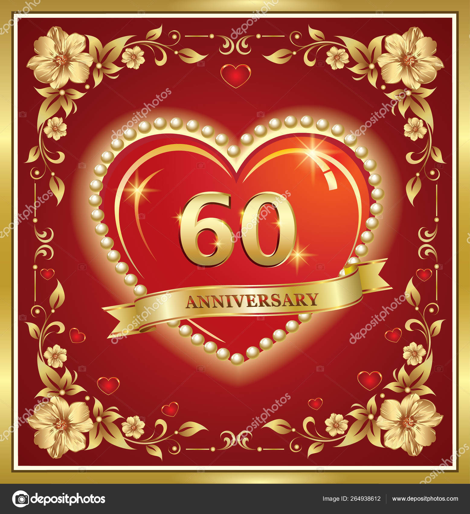 60 Years Anniversary Happy Birthday With Hearts And Ribbon Vector