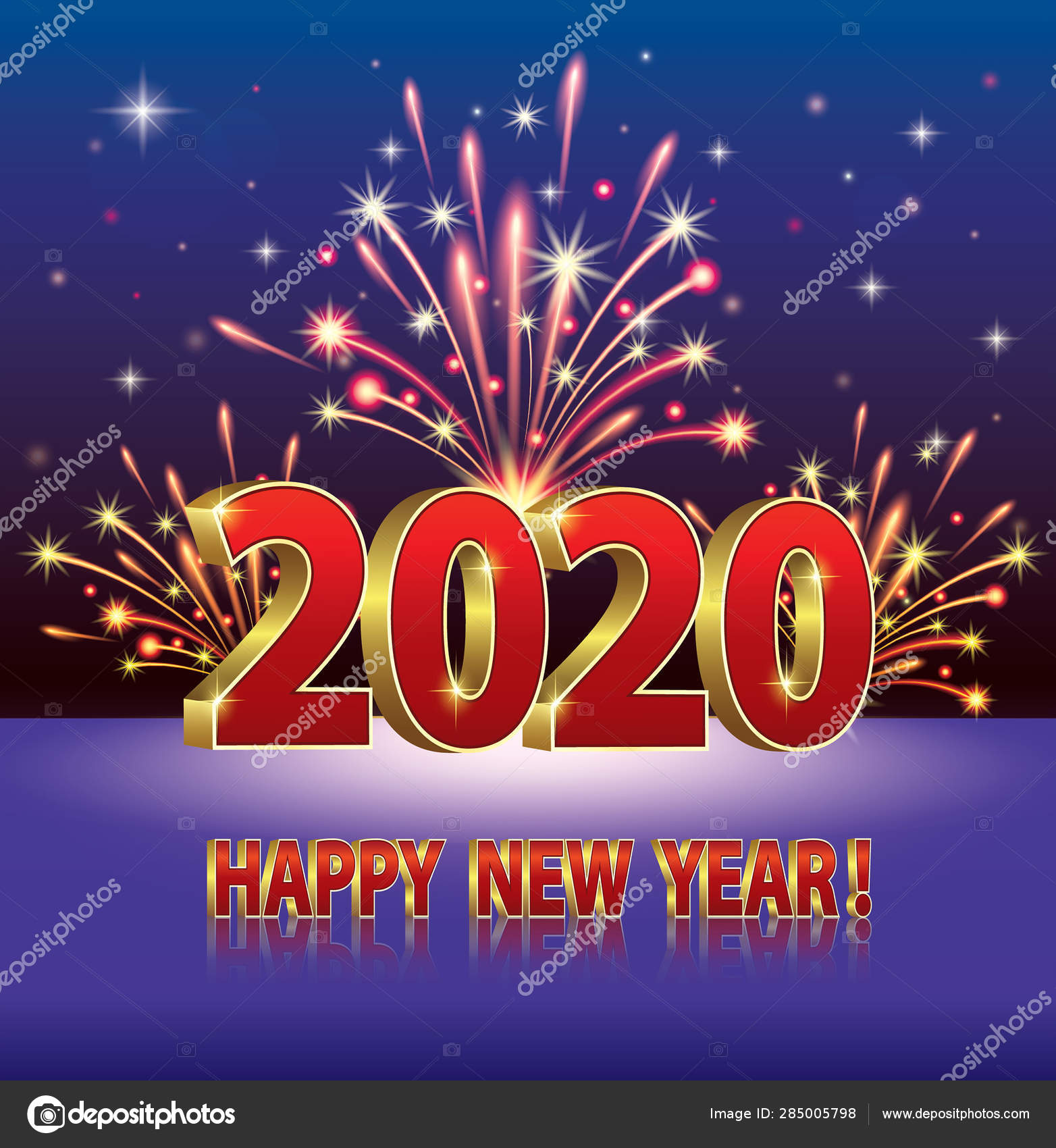 Happy New Year 2020 Funny.Happy New Year 2020 Greeting Card Date Background Fireworks