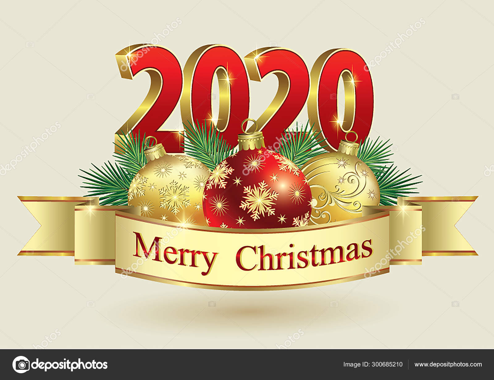Merry Christmas 2020 3d Ornament Happy New Year 2020. Christmas decoration,vector gold design