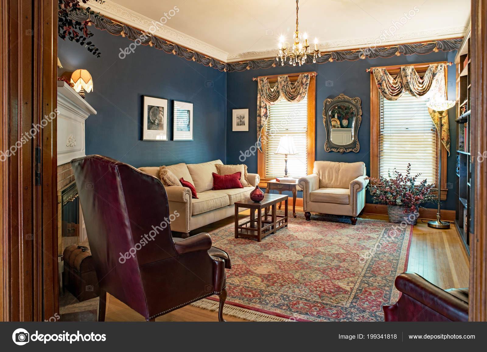 Victorian Living Room Blue Walls — Stock Photo © Lawcain #199341818