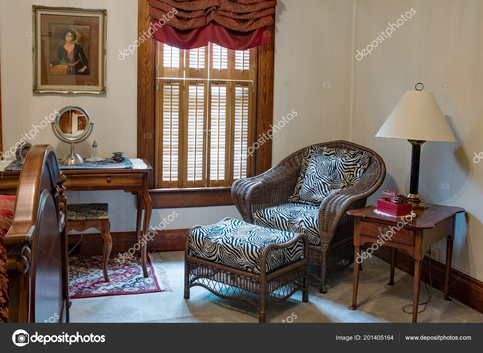 Bedroom Sitting Area Wicker Chair – Stock Editorial Photo ...