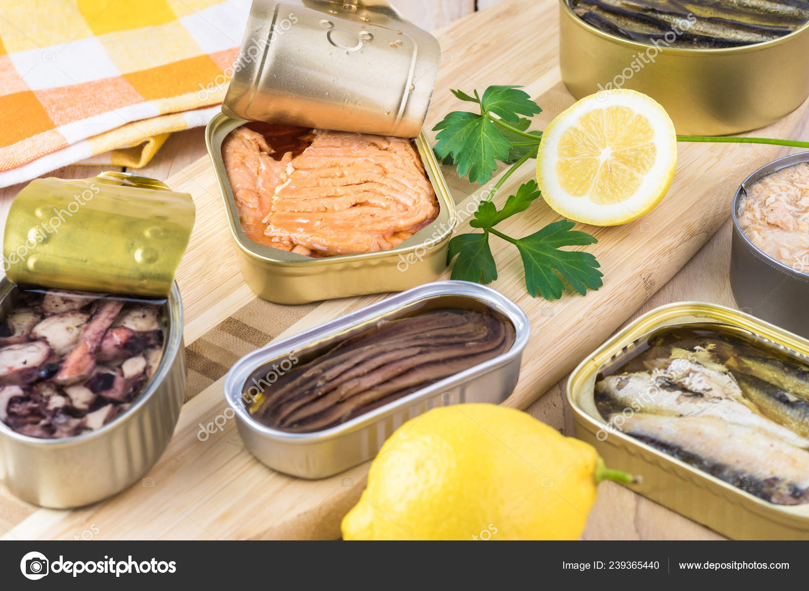 Varieties Open Canned Fish Tin Cans Smoked Salmon Fillets Sardines Stock Photo C Russiandoll 239365440