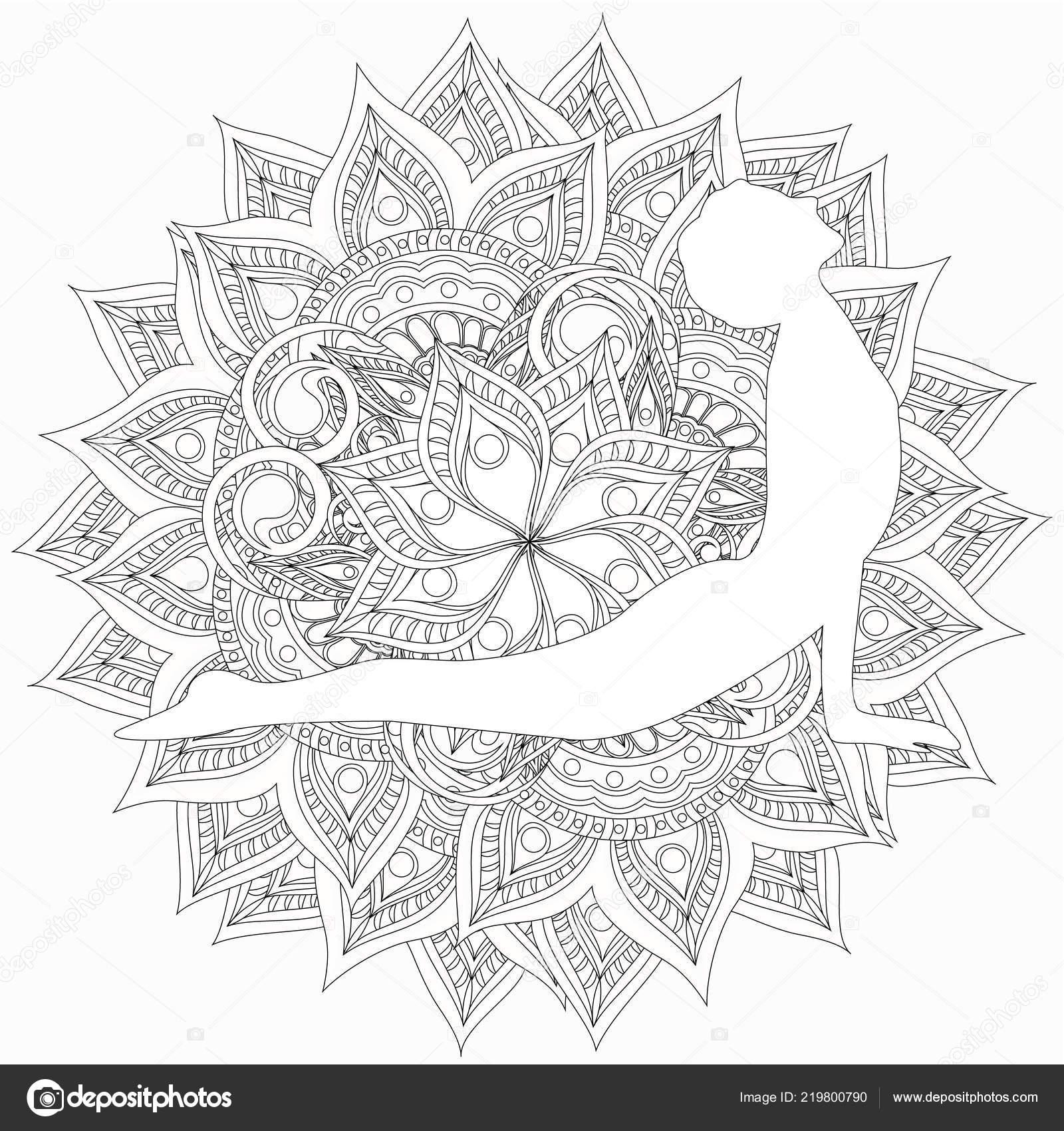 раскраски женщиной делают йоги векторное изображение