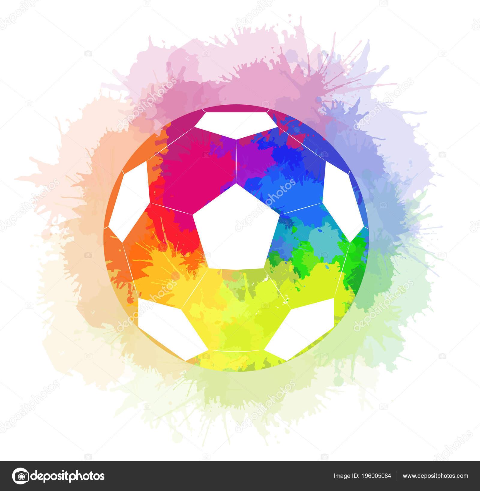 Bola de futebol com fundo de arco-íris aquarela e arco-íris aquarela spray.  Elemento do vetor para a alimentação de artigos de desporto 1f1a6fe292b7f