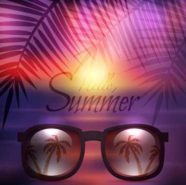 Vector summer poster with sunglasses, palms and calligraphy. Sunset beach background.