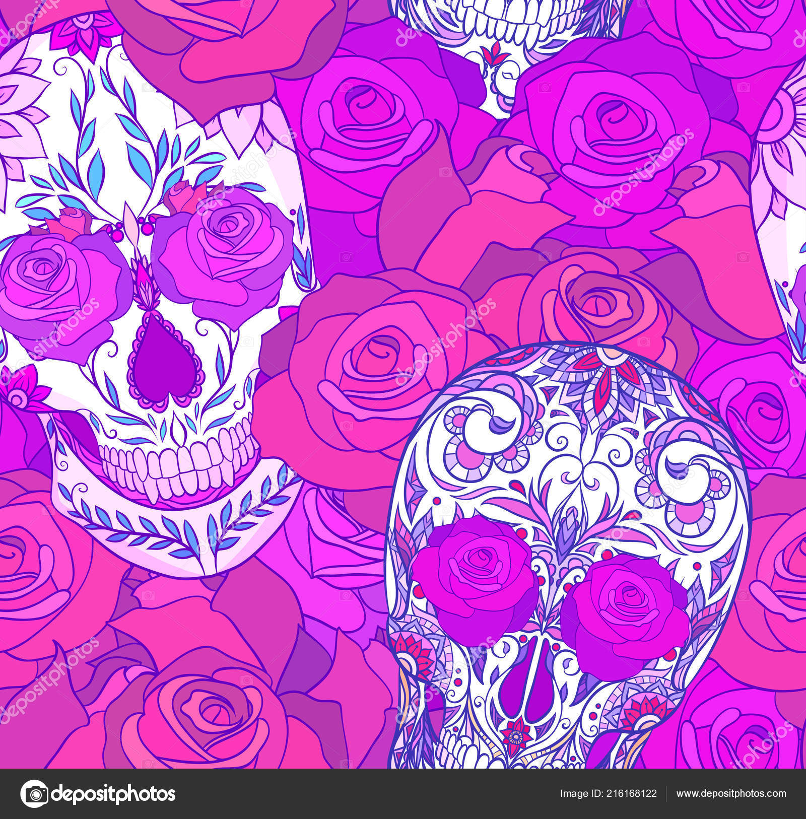 Sugar Skull And Roses Wallpaper Seamless Neon Texture