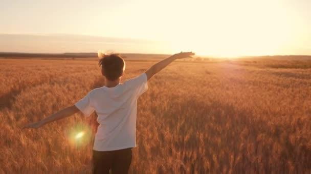 Ein Junge im weißen T-Shirt läuft am goldenen Weizenfeld entlang