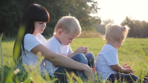 glückliche junge liebevolle Mutter mit ihrem kleinen Sohn und ihrer Tochter emotional und haben Spaß in der Natur. die Familie sitzt an einem klaren Sommertag im Gras vor den Bäumen.
