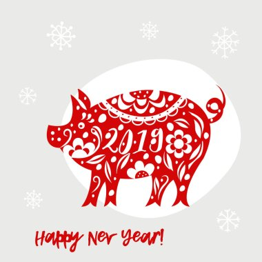 Celebration white background with pig. 2019 Happy New Year greeting card.