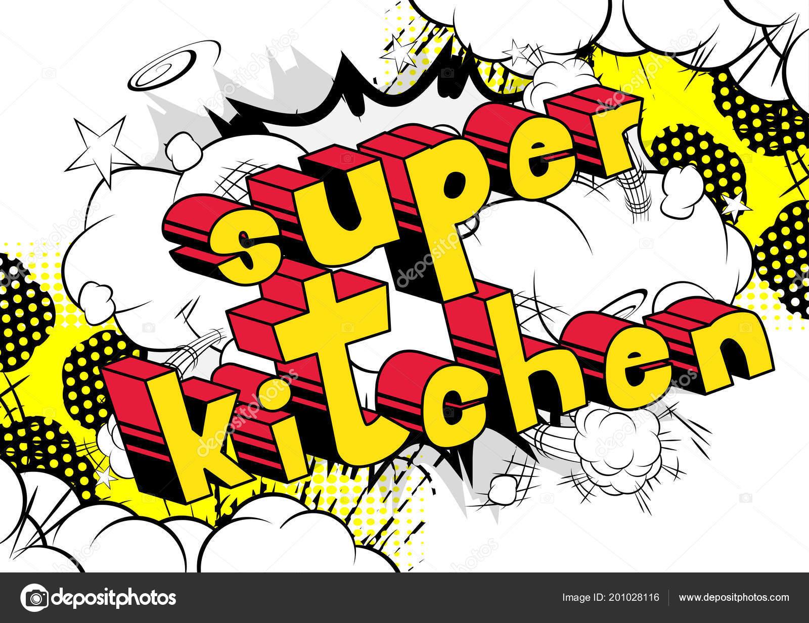 Super Kuche Comic Buch Wort Auf Abstrakten Hintergrund Stockvektor