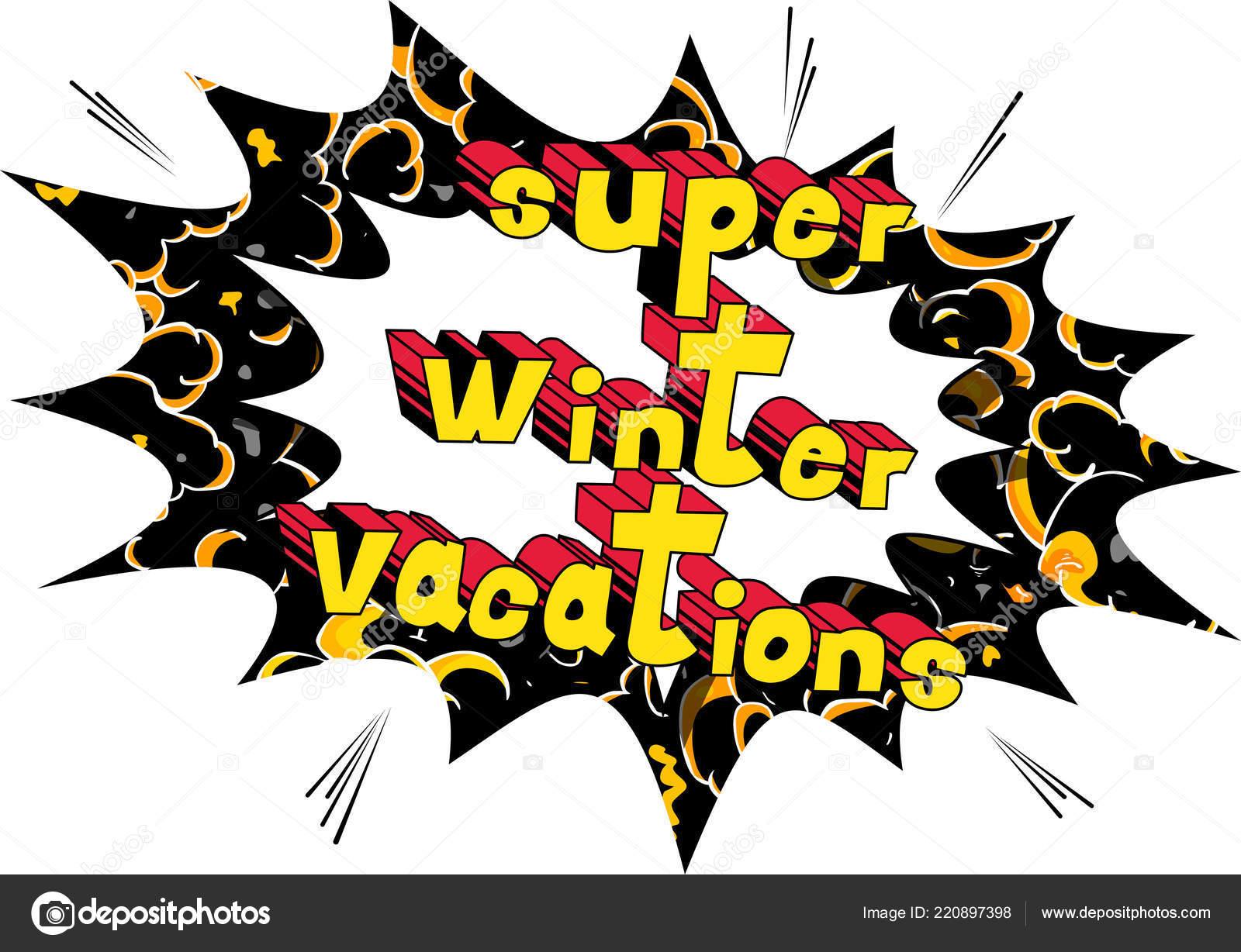スーパー冬休み ベクトル イラスト コミック スタイル フレーズ