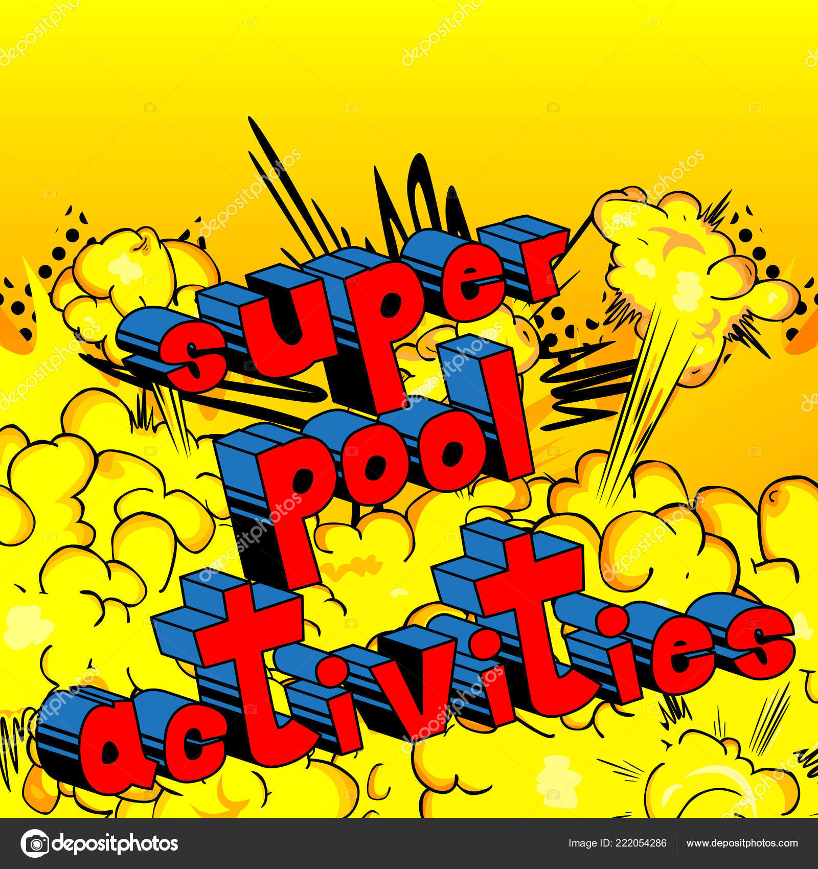 Actividades Piscina Super Vector Ilustran Frase Estilo Cómic