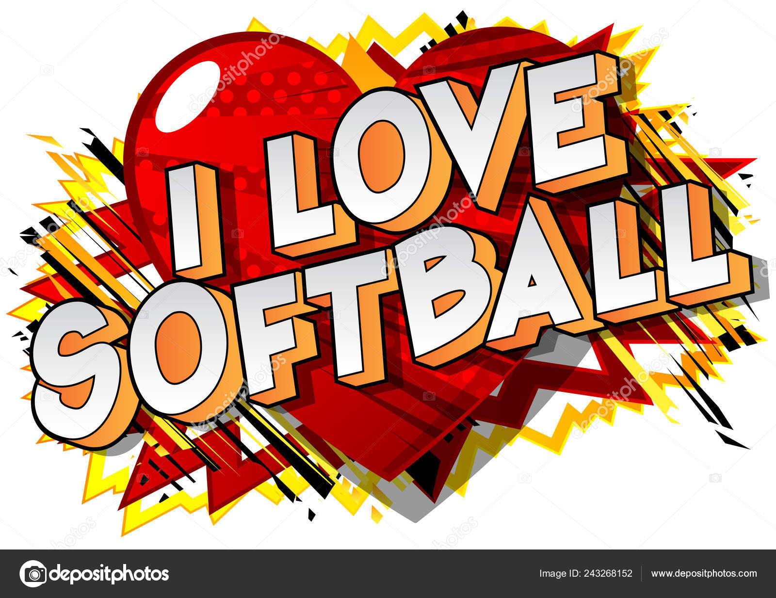 Love Softball Frase Estilo Ilustrado Libro Historietas