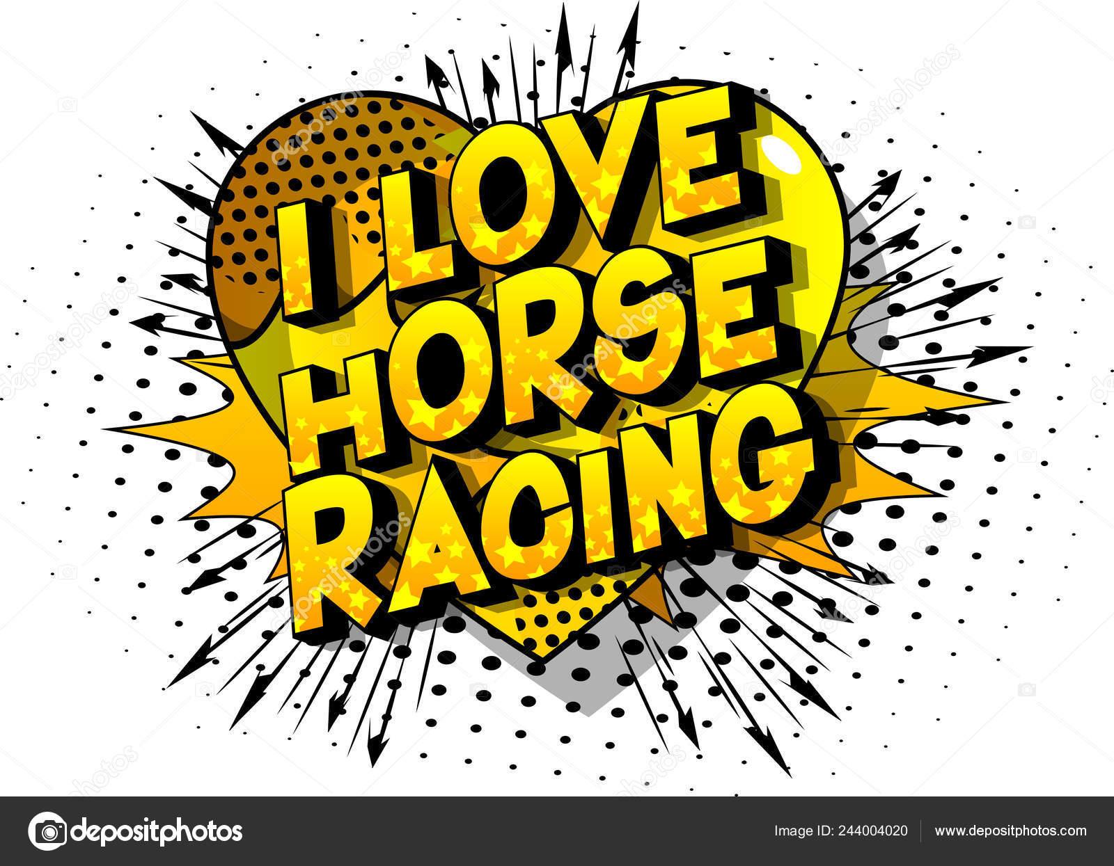 Amor Corrida Cavalos Frase Estilo Vetor Ilustrado Quadrinhos