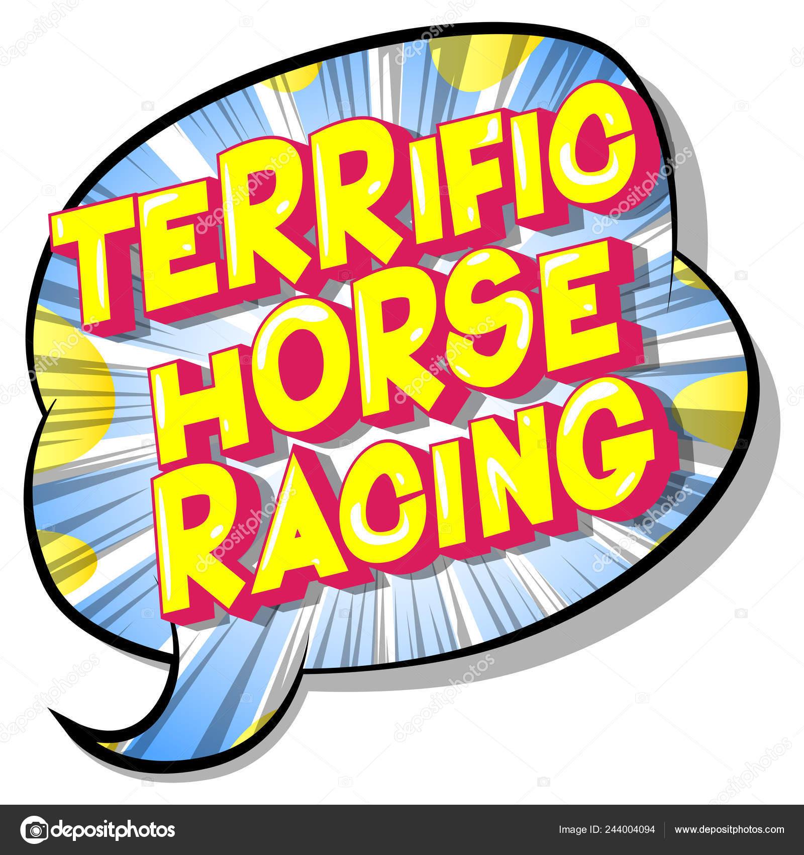 Corridas Cavalos Fantástica Frase Estilo Vetor Ilustrado