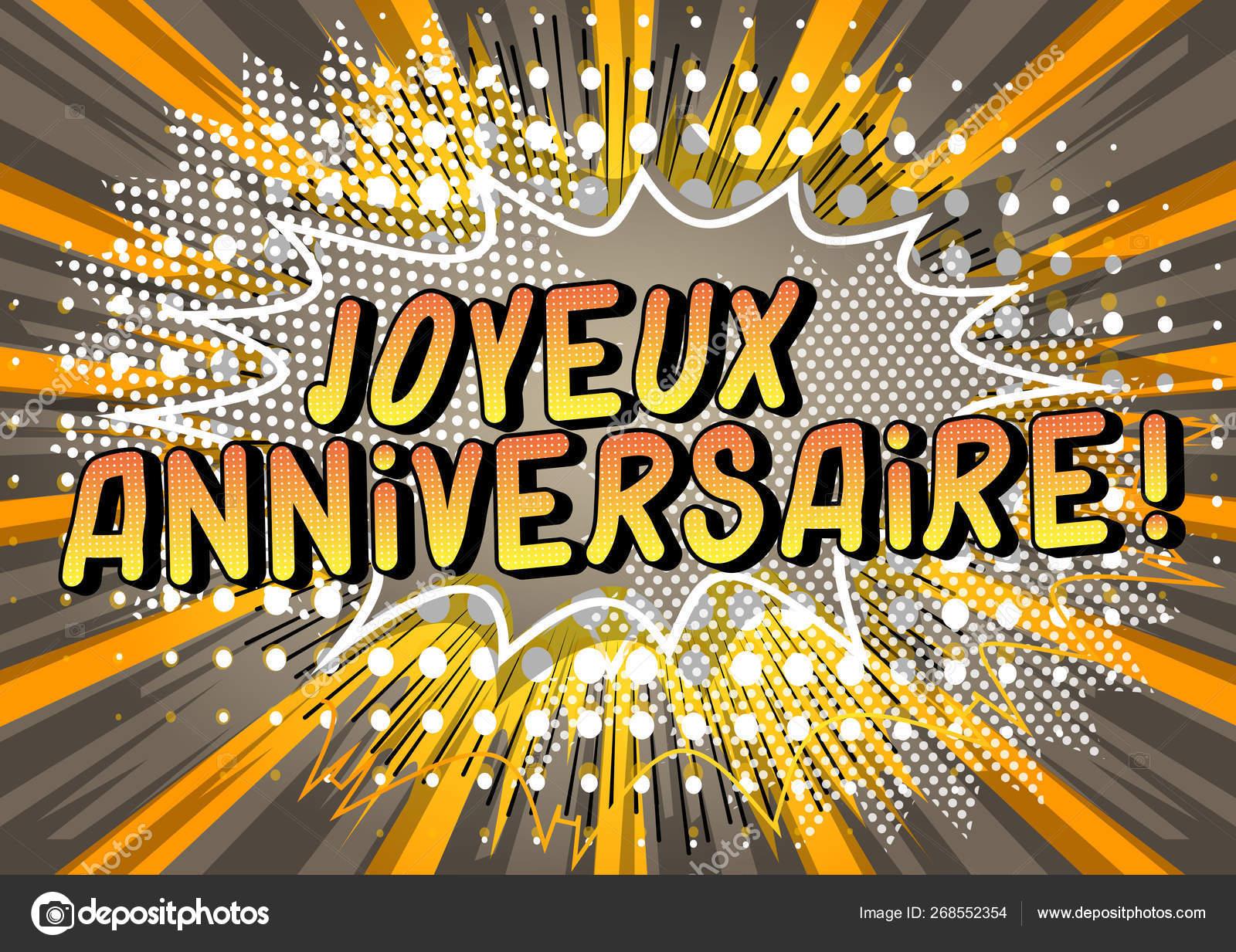Joyeux Anniversaire Happy Birthday French Vector Illustrated Comic Book Style Stock Vector C Noravector 268552354