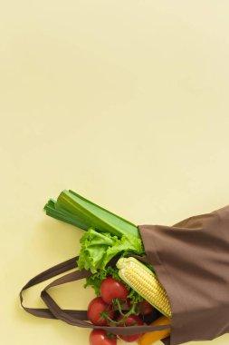 fresh vegetables in cotton bag, zero waste concept