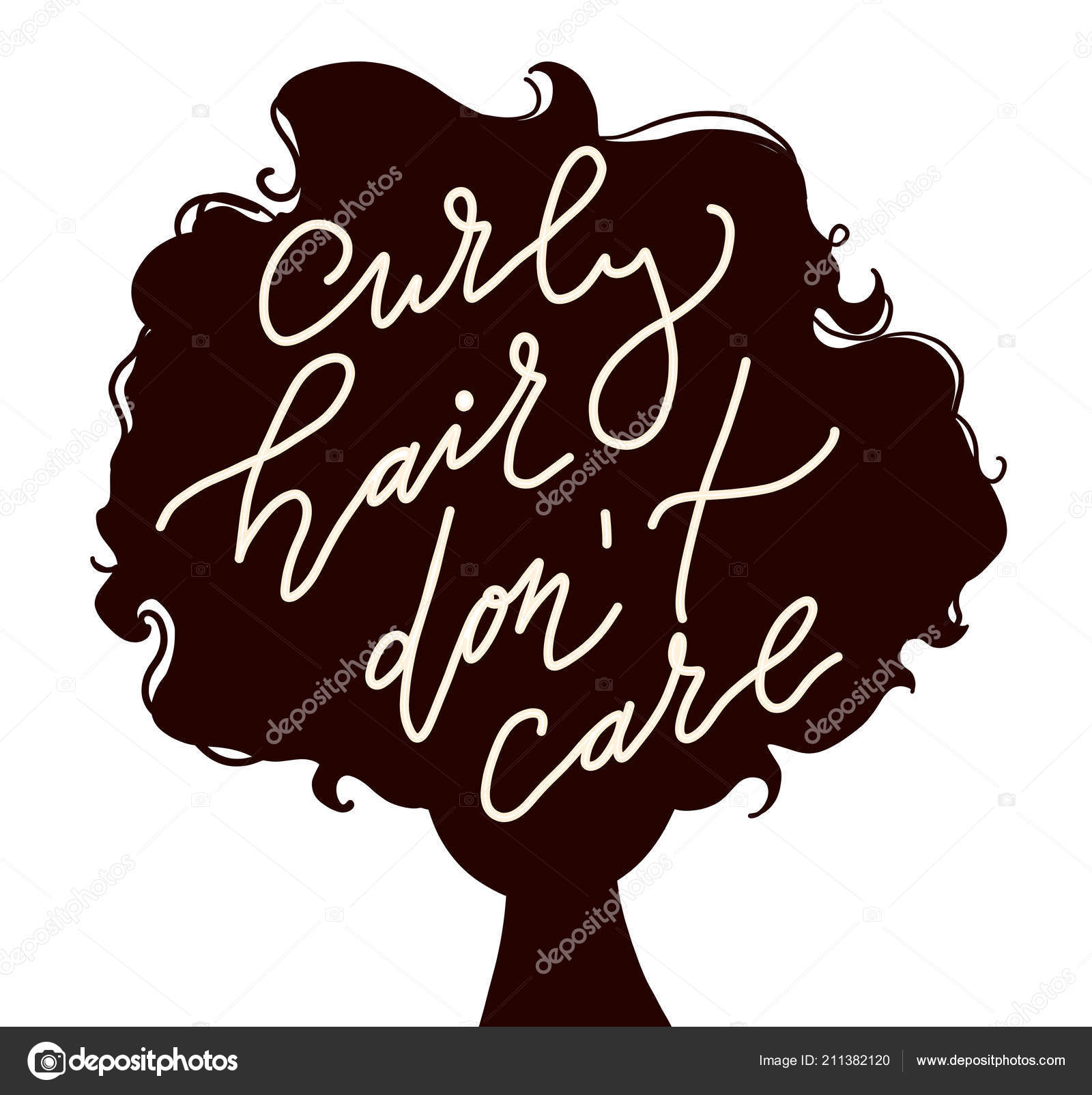 Illustration Woman Curly Hair Silhouette Qoute Curly Hair