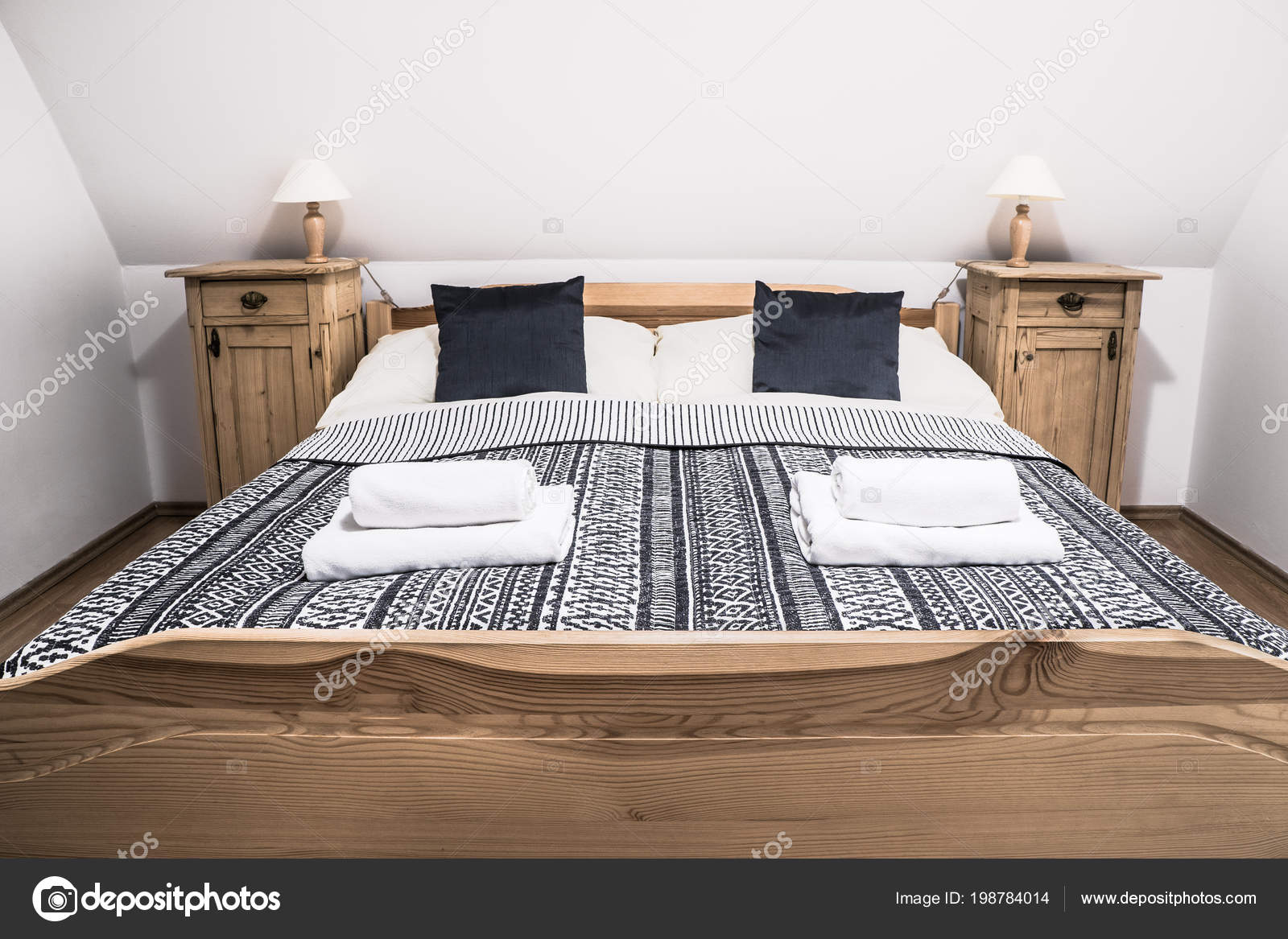 Rustic Wooden Bed Cozy Rural Hotel Room Double Bed Bedside Stock Photo Image By C Marvlc 198784014