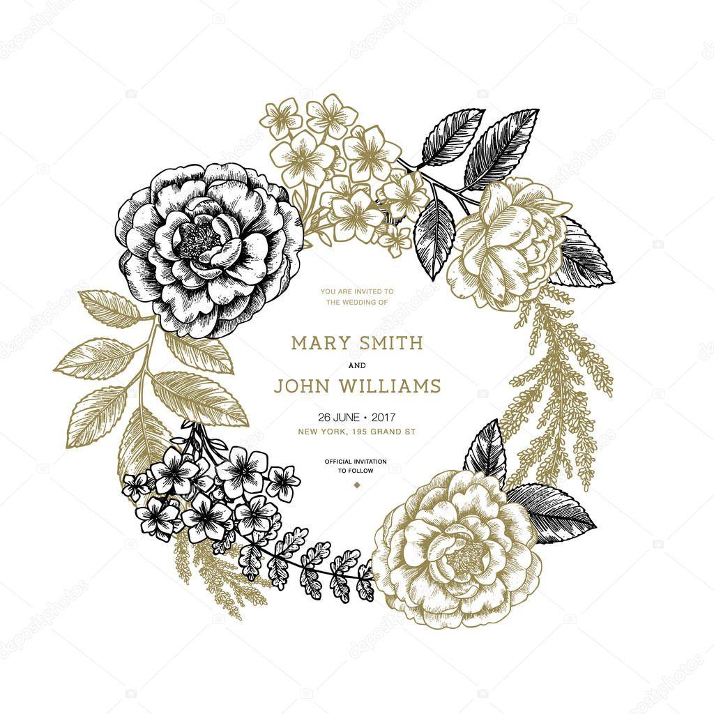 Floral wedding invitation. Vintage engraved