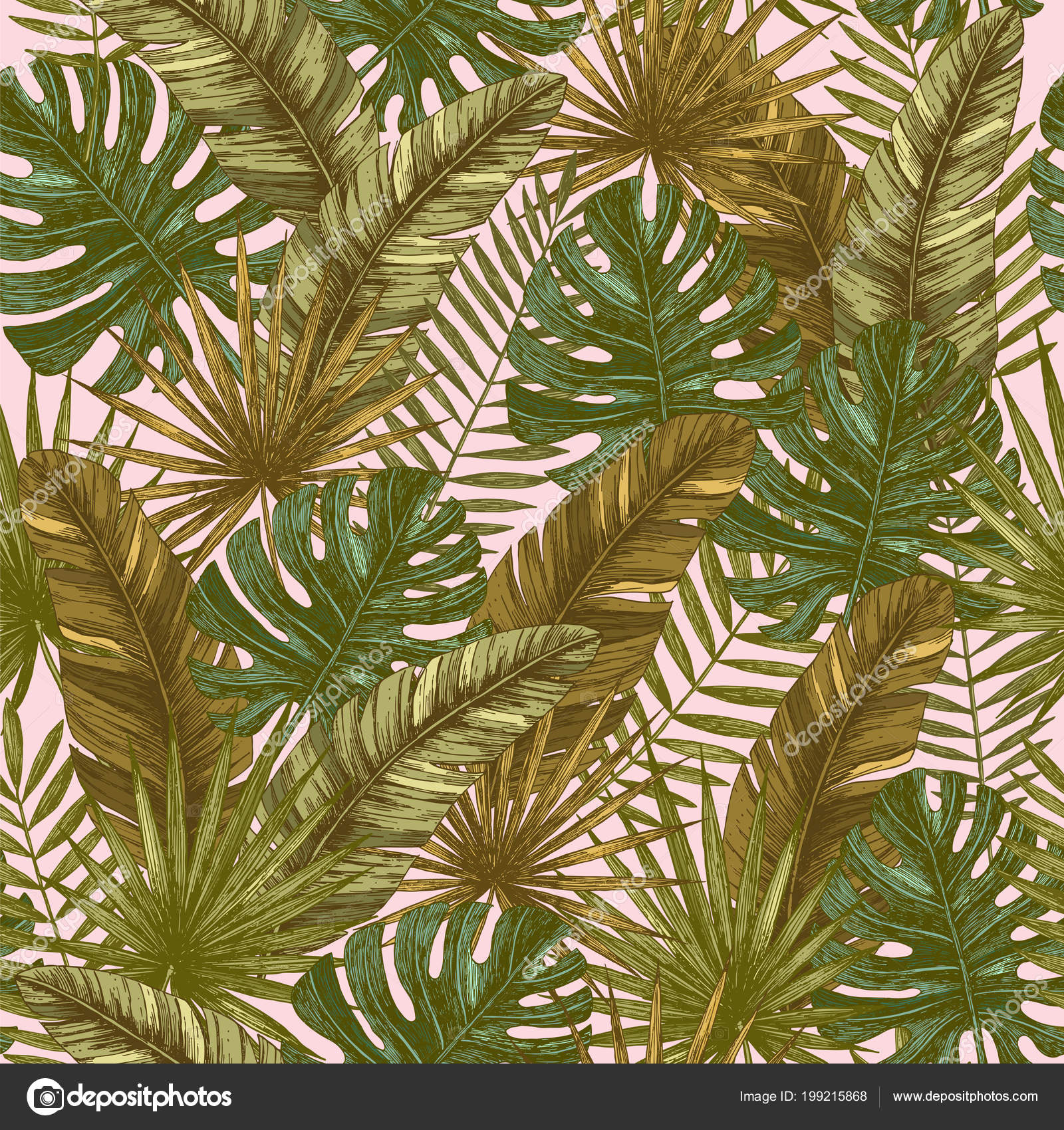 Tropical Leaves Seamless Pattern Retro Jungle Wallpaper