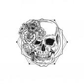 Fotografie Halloween floral vintage skull illustration. Human skeleton.  illustration