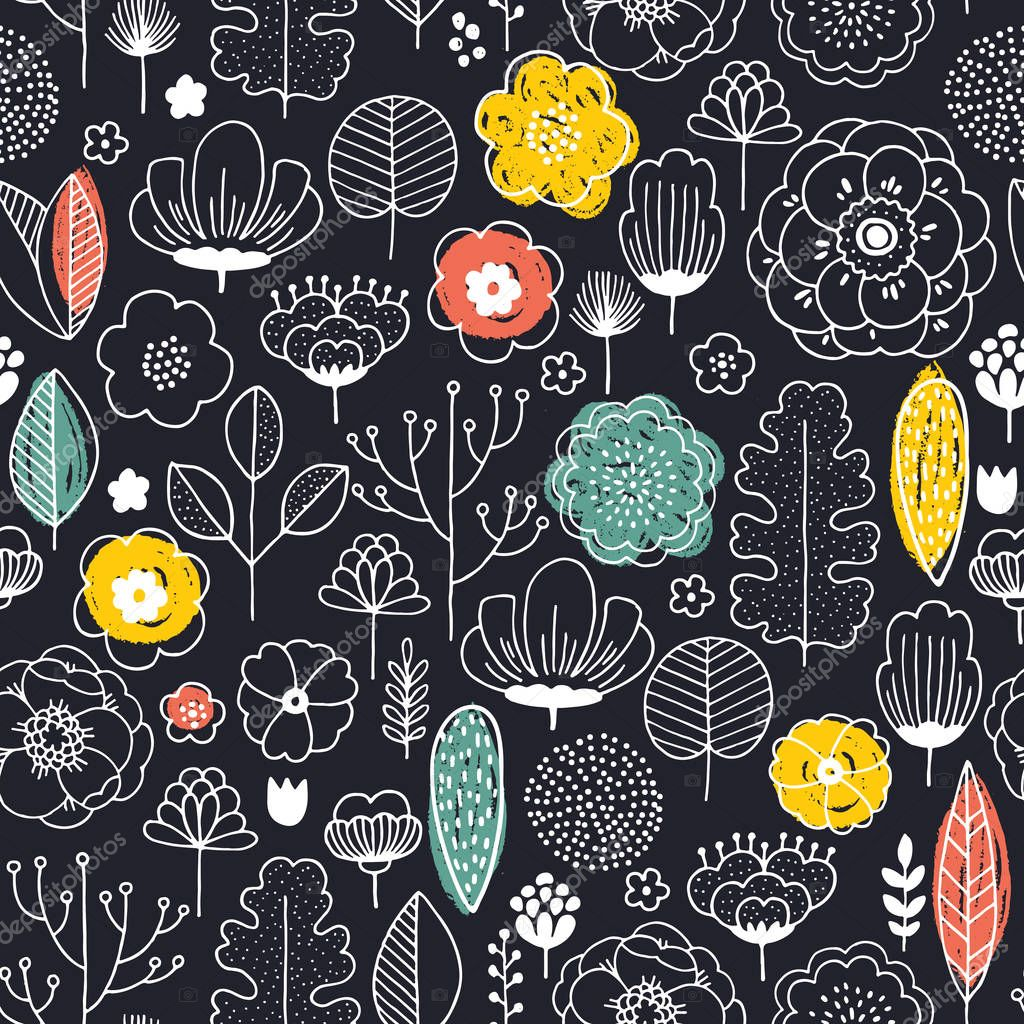 Flower fabric seamless pattern. Linear graphic. florals background. Scandinavian style. Vector illustration