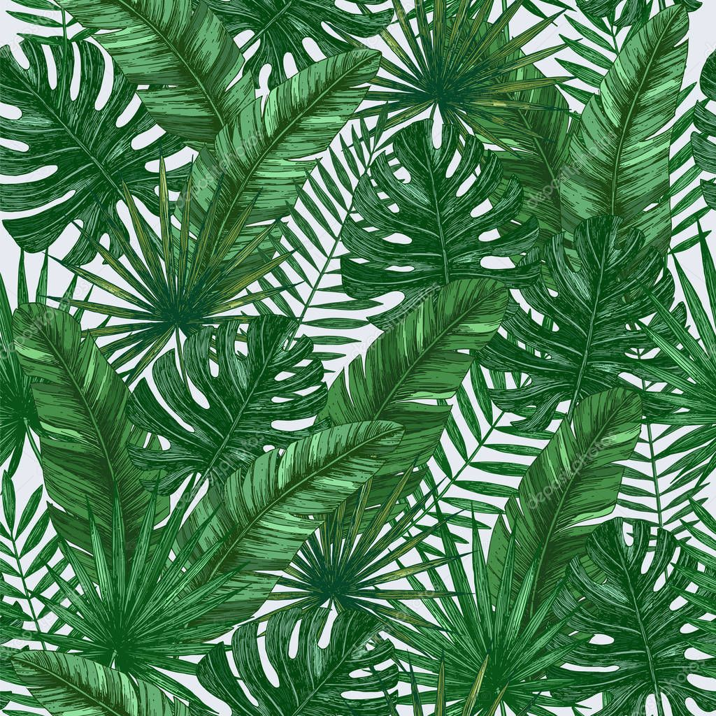 Tropical leaves seamless pattern. Jungle green background.